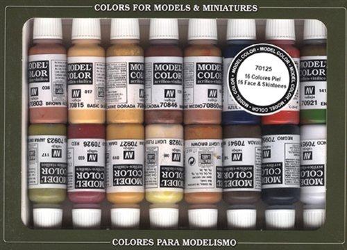 Vallejo 70125 - Confezione 16 Colori per Volti E Pelle