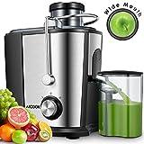 Entsafter für Obst und Gemüse, Aicook Zentrifugaler Entsafter Juicer in Edelstahl, 65MM Breiter Mund, 2 Geschwindigkeitsstufen, Überhitzungsschutz, Edelstahlgehäuse, BPA frei