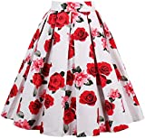 EUDOLAH Damen Kleid Vintage Sommerrock Knielang Faltenrock Stoffdreuck Rosa Gr.M