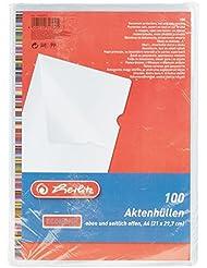 Herlitz 10843753 Aktenhülle A4 PP genarbt Eco, 100er Packung, dokumentenecht