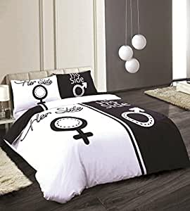 king size imprim his side her side parure de lit housse de couette r versible et taie d. Black Bedroom Furniture Sets. Home Design Ideas