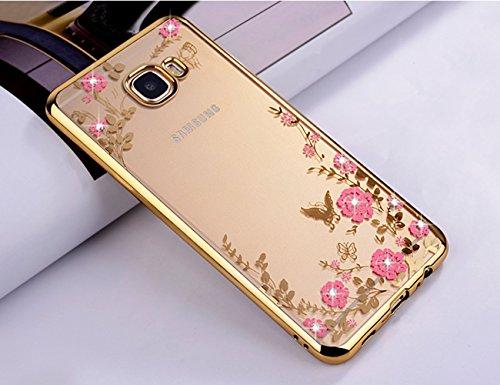 ZCRO Cover per Samsung Galaxy A5 2016 / A510, Custodia Cover Trasparente Silicone TPU Gel Case Glitter Brillantini Diamante Slim Gomma Morbida Custodia per Samsung Galaxy A5 2016 / A510 (Oro,Rosa)