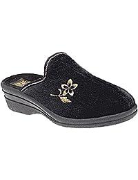 Damas HELEN Comodidad Caliente VELOUR CASA Deslizante Cuña Pantuflas Zapato Tallas 3-8