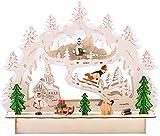 BRUBAKER Arco di candela ad arco di luce LED 3D - paesaggio invernale con chiesa - illuminazione a LED - legno naturale - 27 x 24 x 8,7 cm - dipinto a mano