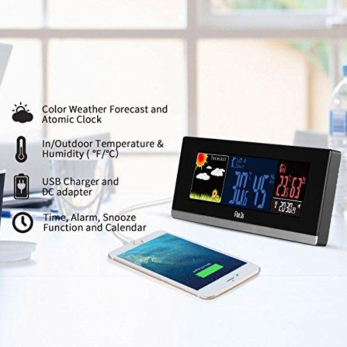 FanJu FJ3368 Color Digital Wetterstation with USB-Aufladung mit Außensensor/Innen Außentemperatur / Uhr / LuftfeuchtigkeitundTagesalarm