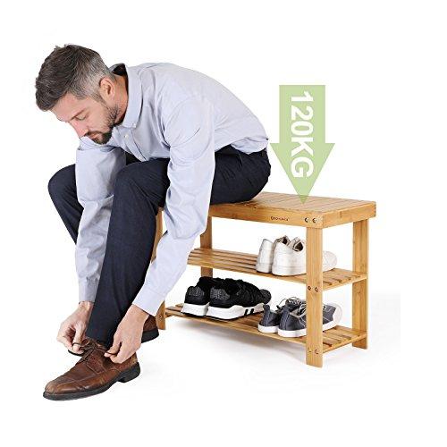 Sitzbank / Schuhregal aus Bambus - 3