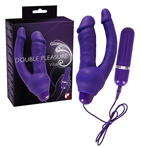You2Toys Vibrator - doppelte Stimulation mit dem Vagina- und Anus-Vibrator, softer Massagestab für Frauen, lila