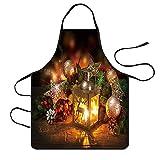 YSFWL Weihnachtsküchen Schürze Wasserfestes Kittelschürze Restaurant Schürzen Abendessen Kochendes Schutzblech Barbequing WeihnachtsschüRze Weihnachtsmann Grillschürze