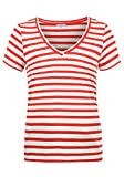 ONLY Leonie Damen T-Shirt Kurzarm Shirt Mit V-Ausschnitt, Größe:L, Farbe:High Risk Red/Stripes Cloud Dancer