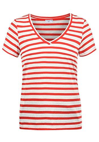 ONLY Leonie Damen T-Shirt Kurzarm Shirt Mit V-Ausschnitt, Größe:L, Farbe:High Risk Red/Stripes Cloud Dancer