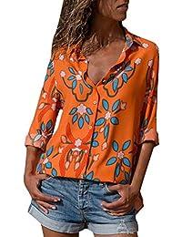 ShallGood Mujeres Camisa Elegante Blusa Floral Embroidered Stand Cuello Blusa Primavera Verano Floral Camisa Manga Larga