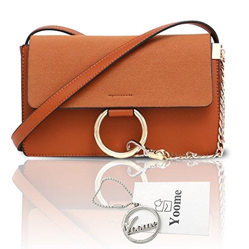 Sacchetti di catena dell'anello circolare per Yoome Casual Bag per Ragazze Borse Vintage per Donne Crossbody - Marrone Marrone