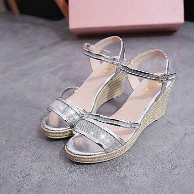Zormey Damen Sandalen Frühling Sommer Club Schuhe Pu-Dress Casual Keilabsatz Schnalle Splitter Gold US8 / EU39 / UK6 / CN39