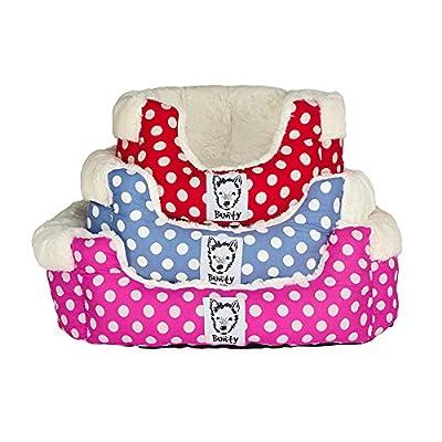 Bunty Deep Dream Polka Dot Soft Fur Fleece Dog Bed Washable Pet Basket Mat Cushion