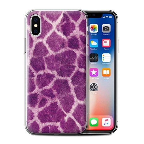 Stuff4 Gel TPU Hülle / Case für Apple iPhone X/10 / Grün Muster / Giraffe Tier Haut/Print Kollektion Lila