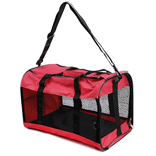 COM-FOUR® Transportbox für Haustiere, Tragetasche zum zusammenklappen für Katzen, kleine Hunde und Kleintiere, mit Netzgewebe und robuster Bodenplatte, 43x29x28cm in rot (Tragetaschen Hund Carrier)