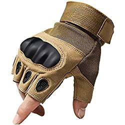1 par de operaciones especiales guantes tácticos Shooting Paintball juego Airsoft guantes de protección CS combate sin duro nudillo para caza escalada Camping guantes equitación guantes de asalto Marrón canela Talla:XL