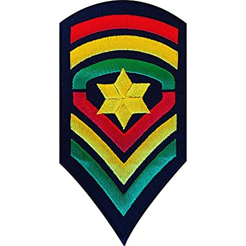 Embroidered Iron On Rasta Army Patch Sew On Biker Badge