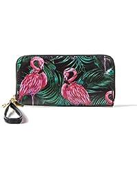 Miss Fantasy Women Rfid Blocking Wallet Ladies Flamingo Print Zip Around Wallet Clutch Purse With Wristlet (Flamingo)