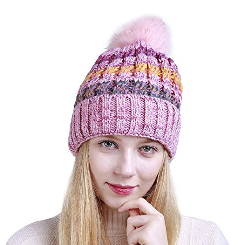 Damen Mütze mit Bommel TUDUZ Wurm Winter Strickmütze Mütze Damen Bommel Pompon Kappen mit Fellbommel aus Fuchspelz /Waschbär Fell (Rosa)