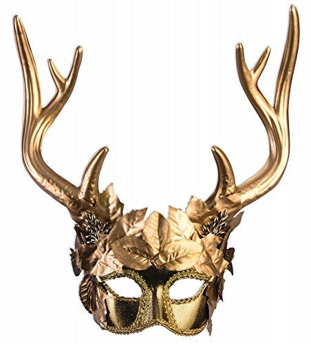 Maske Diana Artemis Göttin der Jagd mit Hirschgeweih Gold Wald Hirsch Mythologie Jägerin Kriegerin Waldgeist