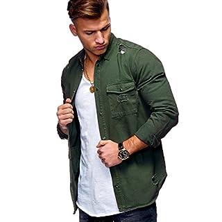 MT Styles Herren Jeanshemd Destroyed Overshirt Hemd G-7851 [Khaki, S]