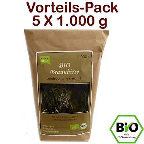 BIO Braunhirse Gemahlen   VORTEILSPACK (5 x 1.000 g)   Vom Biohof Beck   Kalt-Vermahlen   Wildform   Urhirse