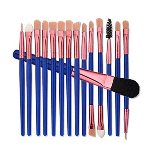 Bureze 15 pcs Pinceaux de maquillage professionnels Blush Fond de teint Fard à paupières Eyeliner Lip Brosse de kit