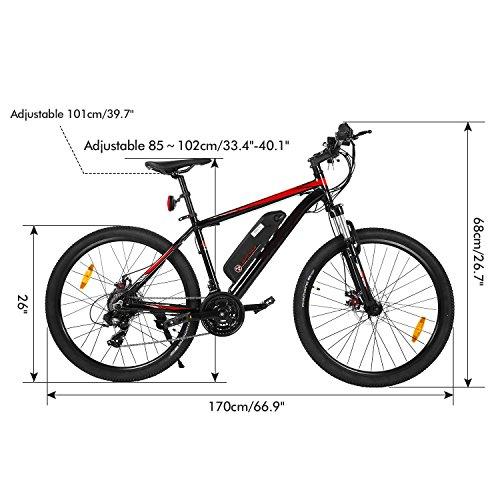 Oplon E-Bike 26 Zoll Elektrofahrrad, E-Mountainbike 35km/h Mountainbike elektro Fahrrad mit Kapazität Lithium-Akku, LED-Anzeige