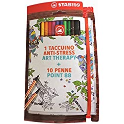 Stabilo it/888 – 268 Art Therapy cuaderno antiestrés con 10 bolígrafos Point 88