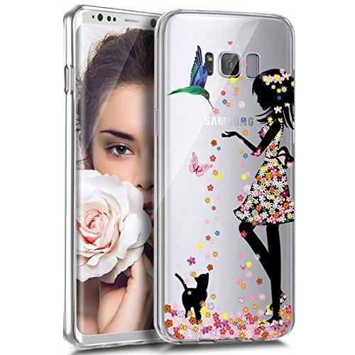 YSIMEE para Carcasa Samsung Galaxy S6 Edge Plus,Xmas Decoración Fundas Transparente Silicona Suave Ultra Fina Delgado Gel Bumper TPU Goma Protectora Carcasas -Niña de las flores