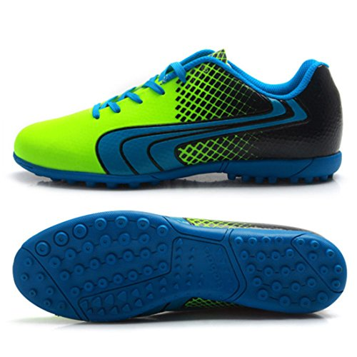 Men's Turf Soles Soccer Chuteira Football Shoes Green Blue