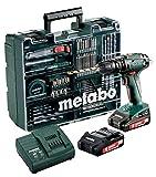 Metabo SB 18 Mobile Werkstatt Akku-Schlagbohrmaschine 2 Li-Power Akkupacks (18 V/2,0 Ah), 1 Stück, Grün; Grau; schwarz; rot, 602245870