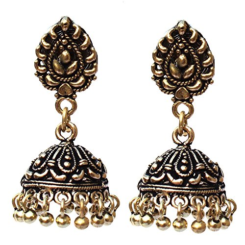 Kaizer Jewelry Oxidised Gold Plated Handmade Stud Jhumka Jhumki for Women Girls Special Tribal Collection
