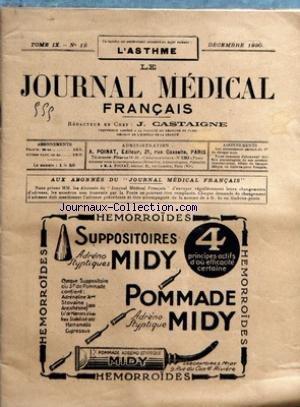 JOURNAL MEDICAL FRANCAIS (LE) [No 12] du 01/12/1920