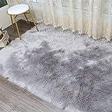 KAIHONG Faux Lammfell Schaffell Teppich (80 x 180 cm) Lammfellimitat Teppich Longhair Fell Optik Nachahmung Wolle Bettvorleger Sofa Matte (Rechteckig Grau)