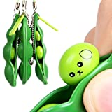 MML Fun Beans Squeeze Toy Stressball Bean Bag Funny Stress Relieving Keychain Soybean Pendants Toys Gift (Green, 7*2*1.5cm)