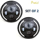 Pivalo Round High Low Beam Conversion DRL Light Dot Approved 75W LED Headlight Kit for Jeep Wrangler JK LJ TJ, 7-inch (Chrome) - Pack of 2