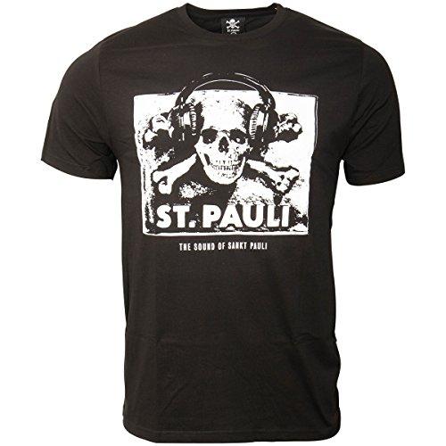 St. Pauli FC Merchandise The Sound Of Sankt Pauli Music Skull Headphones  Men s T- 9f00088bee28