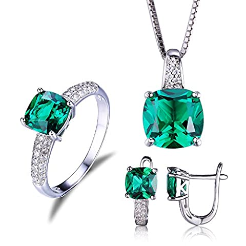 JewelryPalace Cushion 8.3ct Simulated Green Russian Nano Emerald Jewelry Sets Solitaire Engagement Ring Pendant Necklace Clip On Hoop Earrings 925 Sterling Silver Size
