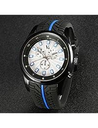 Relojes Hermosos, De los hombres v6 correa de caucho de diseño racign manera del cuarzo reloj ocasional ( Color : Negro )