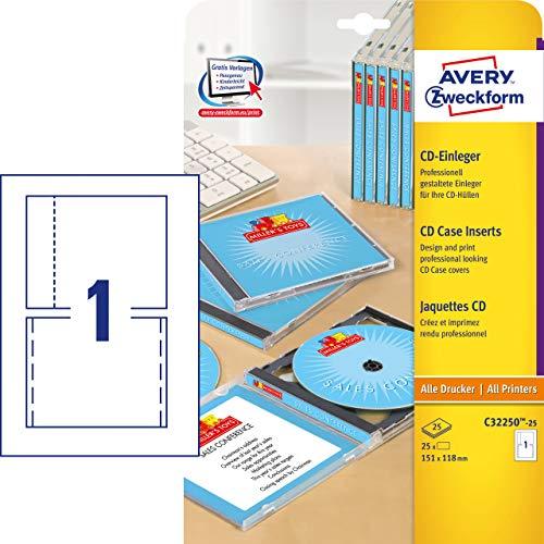 Avery Zweckform, C32250-25, 25 Blatt, CD-Einleger spezialbeschichtet, mikroperforiert, Inkjet, +Laser+Kopierer geeignet, 185g, 151 x 118 mm (Cd-cover-etiketten)