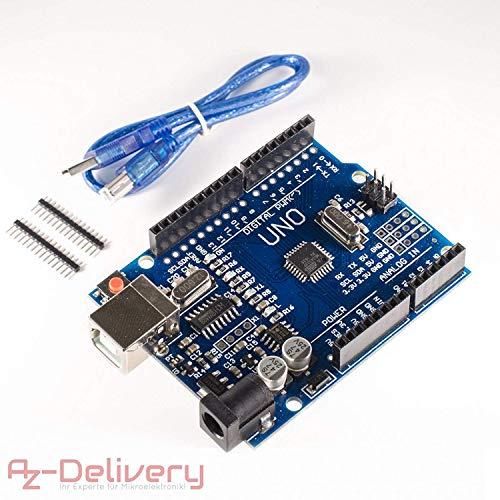 AZDelivery ⭐⭐⭐⭐⭐ Scheda Uno R3 con Cavo USB, Compatibile al 100% con Arduino Uno R3 e con eBook Gratuito!