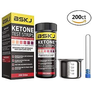 BSKJ Keton-Teststreifen für Ketose, 200 Karat, präzise Urin-Ketostreifen für ketogene Diät, Gewichtsverlust und Diabetiker, mit Edelstahl-Urinbecher und Reagenzglas-Aufbewahrungsflasche
