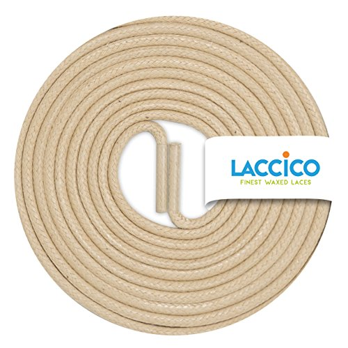 LACCICO Finest Waxed Laces® Durchmesser 2 mm Runde Dünne Elegante Gewachste Schnürsenkel Länge: 75 cm Farbe: Mittelbeige (Runde Champagner)
