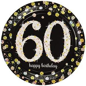 Amscan 55154726cm oro celebración 60th Prismatic Platos de papel