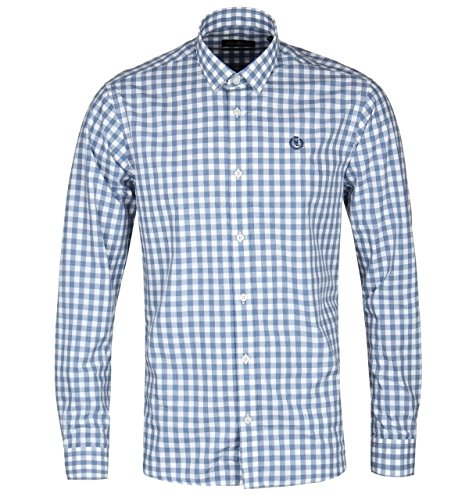 Henri Lloyd Kelton Regular Blue Check Shirt-XXL (Fit Classic Shirt Lauren-cotton Polo Ralph)