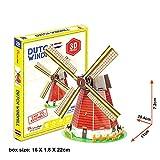 3D Puzzle Jigsaw Gebäude Kinder Spielzeug Weltberühmte Architektur Dutch Windmühle 20 Teile