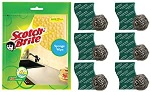 Scotch-Brite Sponge Wipe, Pack of 3 (Color May Vary) & Steel Ball (Pack of 6) and Scrub Pad (Pack of 6) Combo
