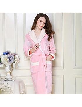 Bearony Suave Pareja Solapa Albornoz Franela Albornoz Camisón Espesada Ropa de Dormir Pijama (Color : Pink, tamaño...